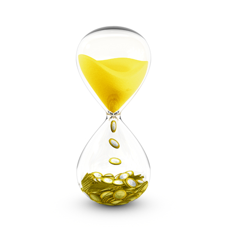 transforms: Time is money concept based on hourglass that transforms the golden sand to coins.