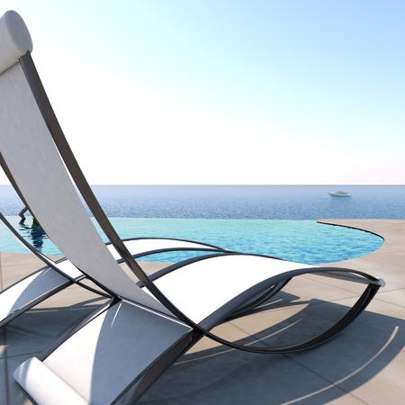 relajado: Tumbonas invitando a la relajación y el descanso, cerca de una piscina de borde infinito con vistas panorámicas al mar para disfrutar de la vida.