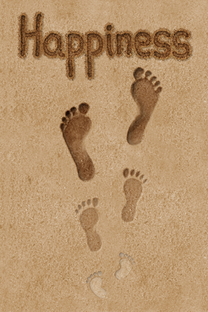 footprints in sand: Concept illustration that uses footprints to illustrates steps to the happiness.