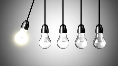 Een brandende lamp zullen andere gedoofde lampen stimuleren. Newton's cradle concept. Realistische 3d render
