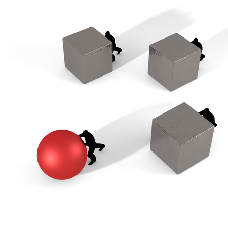 Concept illustration showing different strategies to achieve the same goal. illustration