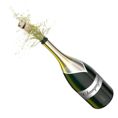 Geopende fles champagne schuimend met vliegende kurk. Deze illustratie vertegenwoordigt de viering.
