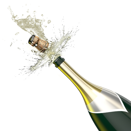 champagne pop: Opened bottle of champagne foaming with flying cork closeup. This illustration Represents the celebration. Stock Photo