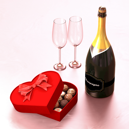 Chocolate box with a champagne and two glasses. This illustration symbolizes the meeting of two lovers Stock Photo