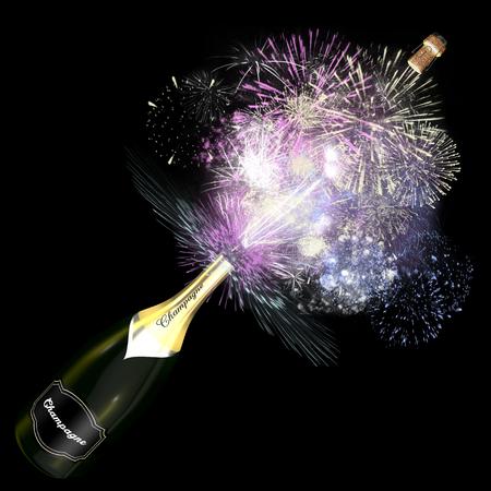 Geopende fles champagne met gigantische vuurwerk. Deze illustratie symboliseert de viering van een uitzonderlijke gebeurtenis. Stockfoto
