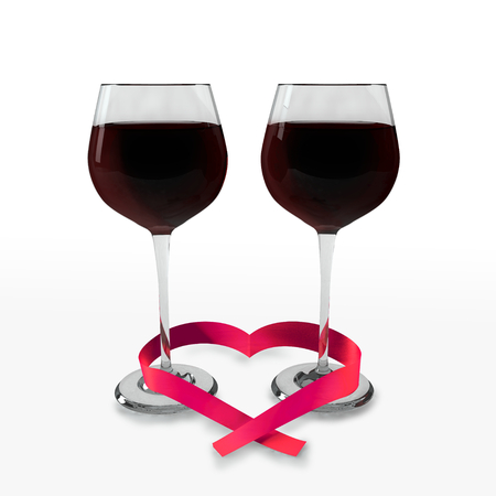 wedding night: Two glasses of good red wine and a ribbon heart shaped on a white background which symbolizes tasting time and love. Stock Photo