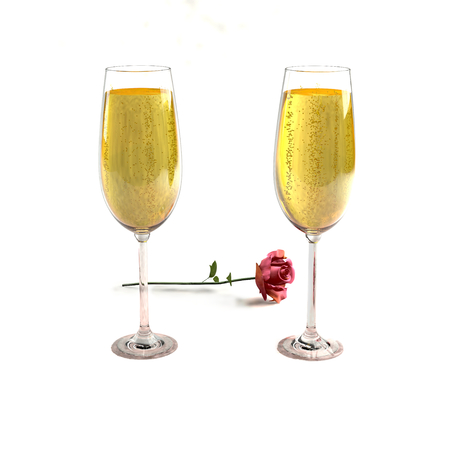 love  life: Two glasses of good champagne and a rose on a white background which symbolizes love. Stock Photo