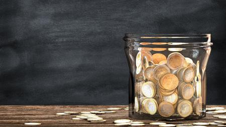 메이슨 항아리 던져 동전으로 가득 차 있습니다. 이 그림은 금융 절약에 대한 은유입니다. 3D 렌더링합니다.