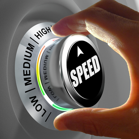 slow: Hand rotating a button and selecting the level of speed. This concept illustration is a metaphor for choosing the level of speed (internet, data, processor...). Three levels are available: low, medium and high. Stock Photo