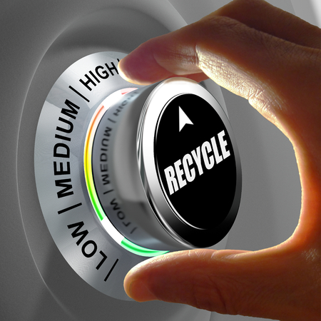 waste products: Hand rotating a button and selecting the level of recycling. This concept illustration is a metaphor for choosing the level of recycling. Three levels are available: low, medium and high. Stock Photo