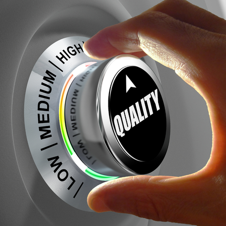high quality: Hand rotating a button and selecting the level of quality. This concept illustration is a metaphor for choosing the level of quality. Three levels are available: low, medium and high.