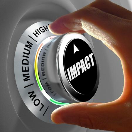 Mano girando un botón y seleccionar el nivel de impacto. Esta ilustración concepto es una metáfora de la estimación del nivel de impacto. Tres niveles disponibles: baja media y alta.