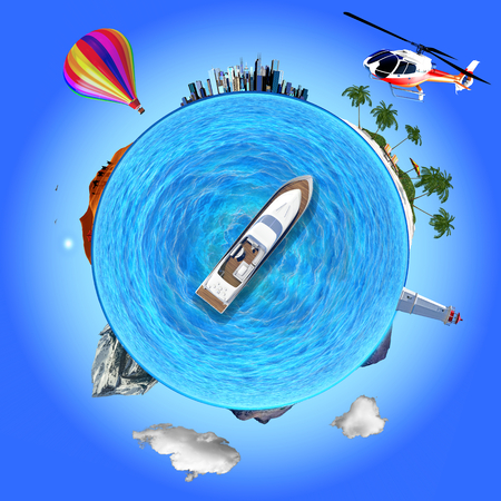 disorient: Concept illustration that shows several travel destinations: urban, desert, beach, mountain. The yacht is like a compass choosing its destination. Stock Photo
