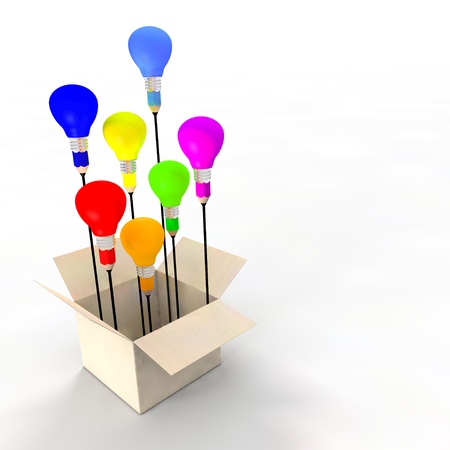 constitute: Several ideas emerging from an idea box. Metaphor concept. The coloured light bulbs and pencil refer to ideas and creativity. Light bulbs are flying like balloons. A copy space is available. Stock Photo