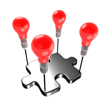 constitute: Metaphor about creativity carrying a member of a team (jigsaw). The light bulbs and pencil refer to ideas and creativity. Stock Photo