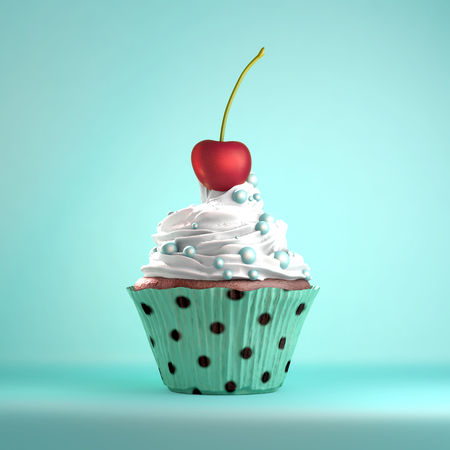 The cherry on the cake metaphor. Delicious cupcake topped with a cherry and whipped cream and sweeties.