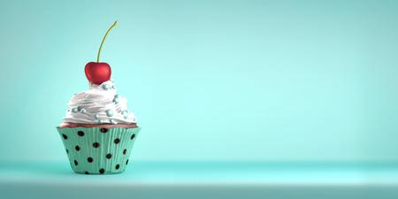맛있는 컵 케이크는 크림 및 사탕도 함께 체리를 얹어. 케이크 은유에 체리. 공간을 복사합니다.