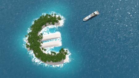 조세 피난처, 유로 모양의 섬에 금융 또는 자산 회피. 럭셔리 보트는 섬으로 항해 중이다.