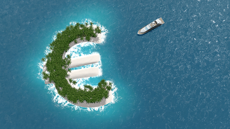 island: Tax haven, financial or wealth evasion on a euro shaped island. A luxury boat is sailing to the island. Stock Photo