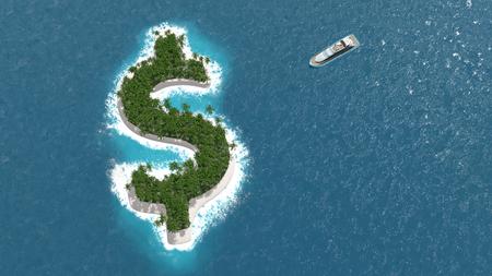 prosperidad: Paraíso fiscal, la evasión o la riqueza financiera en una isla en forma de dólar. Un barco de lujo está navegando a la isla. Foto de archivo