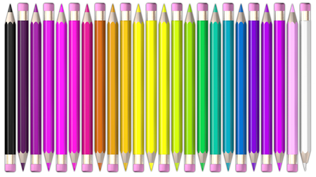 coloured pencil: Set of coloured pencil. Pencils are aligned head to tail and sorted using rainbow colours.