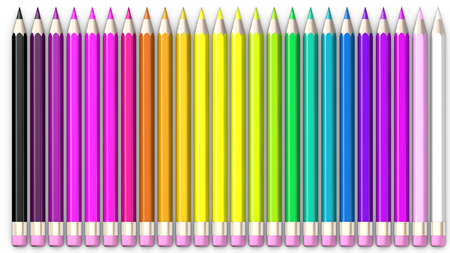 sorted: Set of coloured pencil. Pencils are aligned and sorted using rainbow colours.