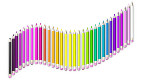 sorted: Set of coloured pencil. Pencils are aligned following a wave and sorted using rainbow colours.