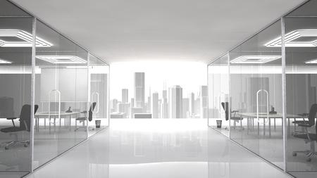 Lugar de trabajo agradable con vista urbano. Las oficinas y salas de reuniones están separadas por paredes de cristal.