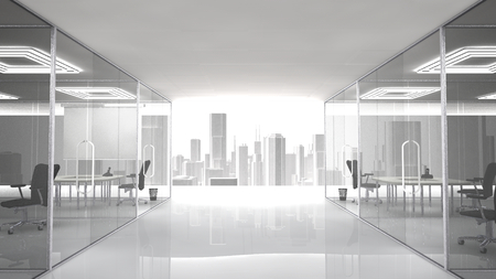 cubicle: Pleasant workplace with urban view. The offices and meeting rooms are separated by walls of glass. Stock Photo