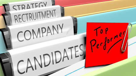 Files on top performer candidates for a company position. 3d render. Reklamní fotografie
