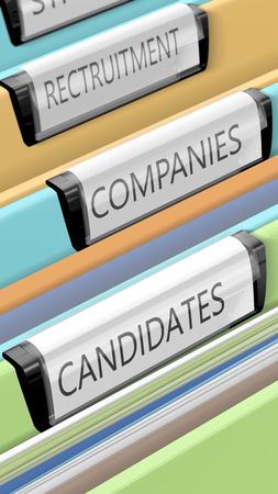 applicant: Files on candidates and company positions. Some enterprises. Many candidates. 3d render. Stock Photo