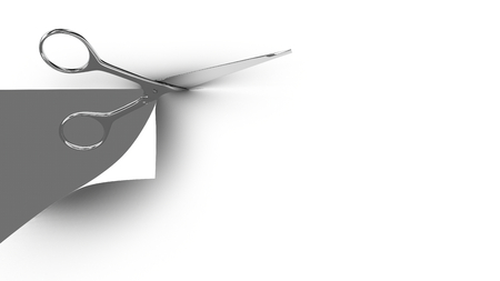 cut: Scissors cutting a paper sheet in two parts. Gray background. 3d render.