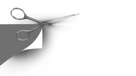 tijeras: Tijeras que cortan una hoja de papel en dos partes. Fondo gris. 3d. Foto de archivo