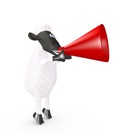 smiles teeth: funny sheep speaking loudly into a megaphone. 3d render