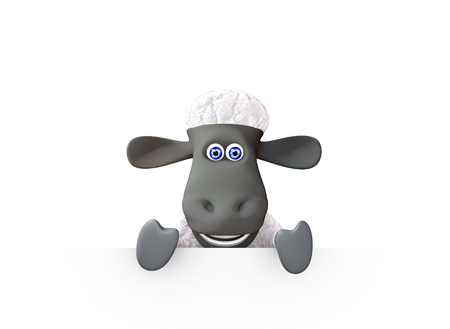 at the bottom of: funny sheep showing a bottom blank space. 3d render Stock Photo