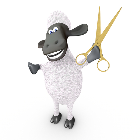 cartoon hairdresser: funny sheep hairdresser showing scissors