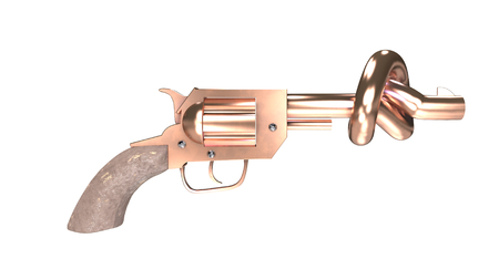 disarm: This picture shows a revolver with a knot shaped barrel that stops bullets. Disarm and peace concepts.
