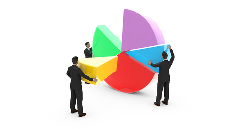 Business men are assembling a pie chart. Everyone contributes to the development of graphic data. Stock Photo