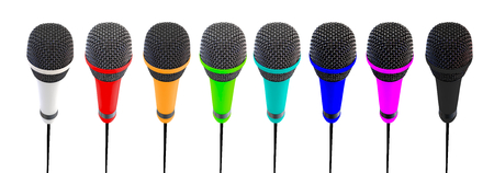 transducer: Several microphones aligned and colored. Microphones stand up.