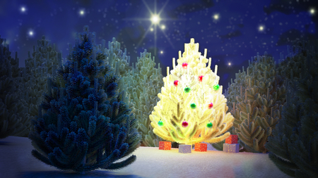 tree toys: Illustration of a Christmas tree in the middle of a pine forest during the night. The stars sparkle. Calm and quiet landscape.