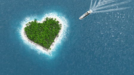 Heart island. A luxury boat is sailing to the island. Love concept. Stock Photo