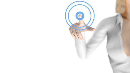 ripple effect: Sexy business woman touching a virtual screen. Free blank space available. The woman is blurred behind the transparent screen. A ripple effect is displayed. Stock Photo