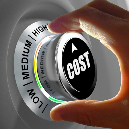 constraint: How much does it cost? Hand adjusting a Low to high cost button. Concept picture.