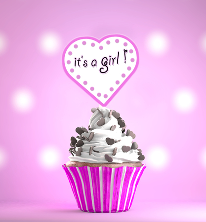 Newborn Baby Girl card message on a delicious cupcake with chocolate hearts