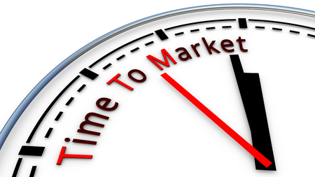 Picture of Time To Market clock concept. Time used to design a new product and bring it on the market Stock Photo