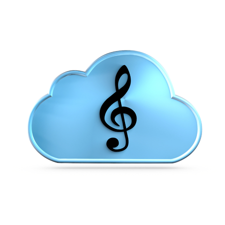 maas: Music As A Service (MAAS) icon concept. A G clef over a cloud Stock Photo