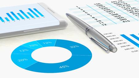 Close-upweergave voor een professionele werkruimte met afbeeldingen op een vel papier en een smartphone met gegevens voor analyse Stockfoto