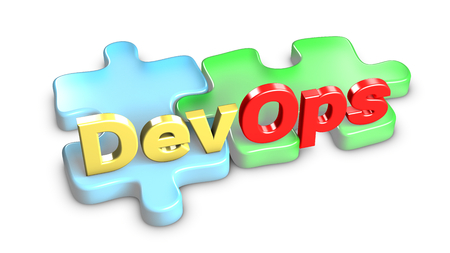 DevOps means development and operations. Each entity is a piece of the puzzle. 3d rendering.