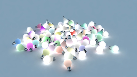 powered: Several colored light bulbs on the ground. Colored lights are powered on. 3D Rendering