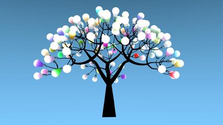 arbol de problemas: Árbol cuyas hojas son bombillas. Las luces de colores están encendidos. Representación 3D
